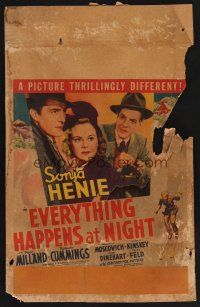 7m183 EVERYTHING HAPPENS AT NIGHT WC '39 Sonja Henie between Ray Milland & Bob Cummings!