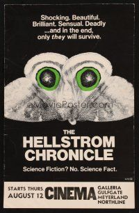7m211 HELLSTROM CHRONICLE WC '71 cool huge moth close up image, only THEY will survive!