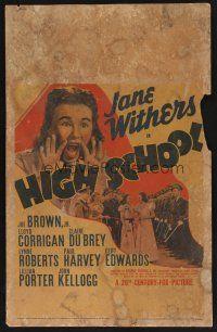7m213 HIGH SCHOOL WC '40 Jane Withers yelling & with pretty girls and many military cadets!