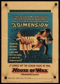 7m218 HOUSE OF WAX WC '53 cool 3-D artwork of monster & sexy girls kicking off the movie screen!