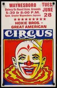 7m219 HOXIE BROS. GREAT AMERICAN CIRCUS WC '80s cool laughing clown artwork!
