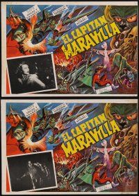 7m573 ADVENTURES OF CAPTAIN MARVEL 3 Mexican LCs R60s cool different sci-fi serial border artwork!