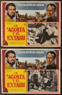 7m559 AGONY & THE ECSTASY 4 Mexican LCs '65 Charlton Heston & Rex Harrison, directed by Carol Reed!
