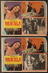 7m565 DRACULA PRINCE OF DARKNESS 4 Mexican LCs '66 vampire Christopher Lee, cool border montage!