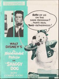 7m344 ABSENT-MINDED PROFESSOR/SHAGGY DOG pressbook '67 two Disney sci-fi movies together!