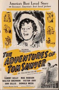 7m345 ADVENTURES OF TOM SAWYER pressbook R45 Tommy Kelly as Mark Twain's classic character!