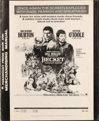 7m352 BECKET pressbook R67 Richard Burton in the title role, Peter O'Toole, John Gielgud