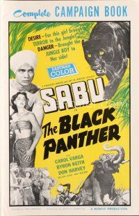 7m356 BLACK PANTHER pressbook '56 danger brought Sabu to sexy Carol Varga's side in the jungle!
