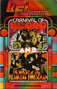 7m367 CURSE OF THE HEADLESS HORSEMAN/CARNIVAL OF BLOOD pressbook '72 cool horror double bill!