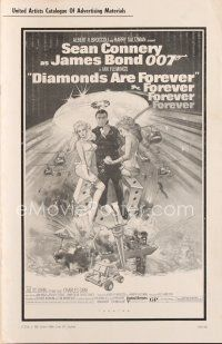 7m372 DIAMONDS ARE FOREVER pressbook '71 art of Sean Connery as James Bond by Robert McGinnis!