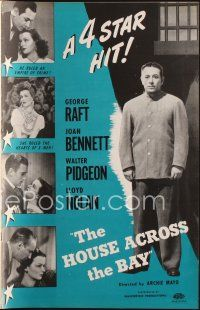 7m400 HOUSE ACROSS THE BAY pressbook R48 George Raft, Joan Bennett, Walter Pidgeon, Lloyd Nolan!