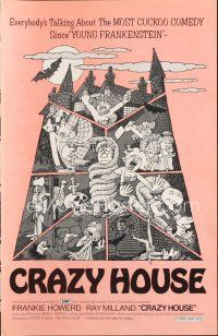 7m401 HOUSE IN NIGHTMARE PARK pressbook '73 Ray Milland, wacky art, Crazy House!