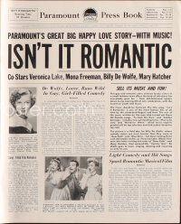 7m410 ISN'T IT ROMANTIC pressbook '48 Veronica Lake, Paramount's big happy love-story-with-music!