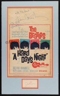 7t001 HARD DAY'S NIGHT signed WC + index card '64 by Beatles John, George, Ringo, AND Paul!