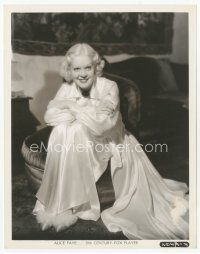 7w057 ALICE FAYE candid 8x10 still '35 full-length c/u in sexy gown relaxing at home by Otto Dyar!