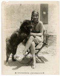 7w058 ALICE WHITE candid 8x10 still '27 on set with her dog from Private Life of Helen of Troy!