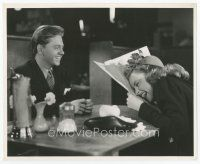 7w059 BABES ON BROADWAY candid 8x10 still '41 Mickey Rooney tells Judy Garland a joke on set!