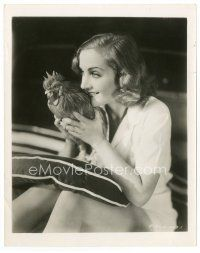 7w064 CAROLE LOMBARD candid 8x10 still '37 c/u of the beautiful actress holding her pet rooster!