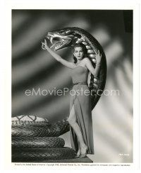 7w048 COBRA WOMAN 8x10 still '44 full-length super sexy Maria Montez on giant snake statue!