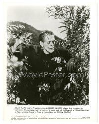 7w005 FRANKENSTEIN 8x10 still R63 great close up of Boris Karloff as the monster in bushes!