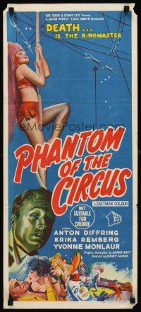 8d625 CIRCUS OF HORRORS Aust daybill 60 different sexy trapeze stone litho Phantom of the Circus