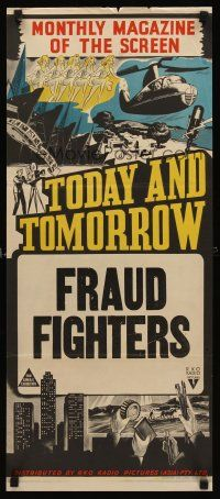 8d965 TODAY  TOMORROW Aust daybill 40s cool newsreel stone litho Fraud Fighters