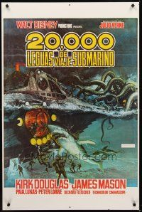 8e004 20,000 LEAGUES UNDER THE SEA Spanish/U.S. 1sh R70s Jules Verne classic, different action art!