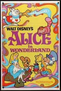 8e022 ALICE IN WONDERLAND 1sh R81 Walt Disney Lewis Carroll classic, cool psychedelic art!