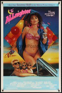 8e029 ALLNIGHTER 1sh '87 sexy Bangles rock star Susanna Hoffs in bikini holding drink!