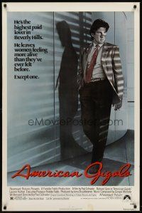 8e032 AMERICAN GIGOLO 1sh '80 handsomest male prostitute Richard Gere is being framed for murder!