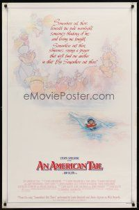 8e034 AMERICAN TAIL style B 1sh '86 Steven Spielberg, Don Bluth, art of Fievel the mouse by Drew!