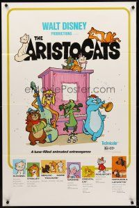 8e039 ARISTOCATS 1sh R80 Walt Disney feline jazz musical cartoon, great art of dancing cats!