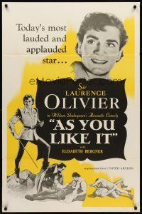 8e040 AS YOU LIKE IT 1sh R49 Sir Laurence Olivier in William Shakespeare's romantic comedy!