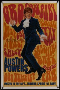 8e045 AUSTIN POWERS: INT'L MAN OF MYSTERY teaser 1sh '97 Mike Myers is frozen in the 60s!