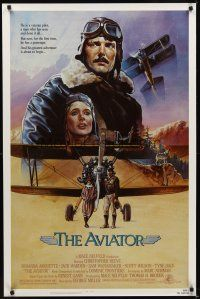 8e046 AVIATOR 1sh '85 art of airplane pilot Christopher Reeve & Rosanna Arquette by Manchess!