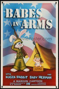 8e047 BABES IN ARMS Kilian 1sh '88 Roger Rabbit & Baby Herman in Army uniform with rifles!