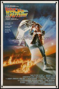 8e053 BACK TO THE FUTURE 1sh '85 Robert Zemeckis, art of Michael J. Fox & Delorean by Drew Struzan!