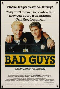 8e054 BAD GUYS style B 1sh '86 Adam Baldwin, Mike Jolly, cops turned wrestlers!