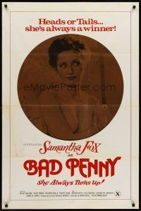8e055 BAD PENNY 1sh '78 heads or tails, Samantha Fox is always a winner, x-rated, cool image!