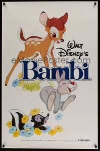 8e056 BAMBI 1sh R82 Walt Disney cartoon classic, great art with Thumper & Flower!