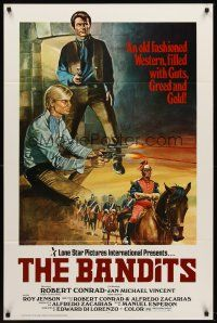 8e057 BANDITS 1sh '79 art of Robert Conrad & Jan Michael Vincent in western action!