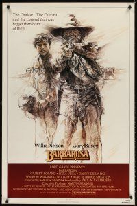 8e059 BARBAROSA 1sh '82 great art of Gary Busey & Willie Nelson with smoking gun!