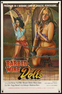 8e060 BARBED WIRE DOLLS 1sh '77 Jesus Franco, sexy art of barely-clothed female prisoners!