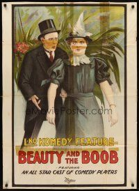 8e066 BEAUTY & THE BOOB 1sh '19 wonderful stone litho art from silent comedy!