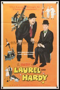 8e070 BEST OF LAUREL & HARDY 1sh '67 five great artwork images of Stan & Oliver!
