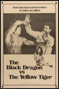 8e080 BLACK DRAGON VS. THE YELLOW TIGER 1sh '73 cool kung fu image w/ Bruce Lee look-alike!