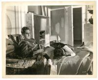 8j011 39 STEPS 8x10 still '35 Alfred Hitchcock, Robert Donat finds dead Lucie Mannheim in his bed!
