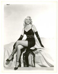 8j018 ADELE JERGENS 8x10 still '40s seated portrait in showgirl outfit with fishnet stockings!