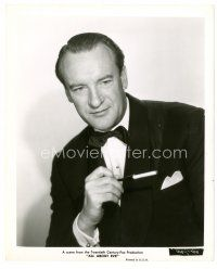 8j025 ALL ABOUT EVE 8x10 still '50 waist-high portrait of smoking George Sanders in tuxedo!