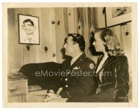 8j071 BEGINNING OR THE END candid 8x10 still '47 Donlevy & Totter stare at caricature of Gable!